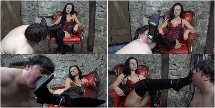 Boots licking femdom video, boot worship