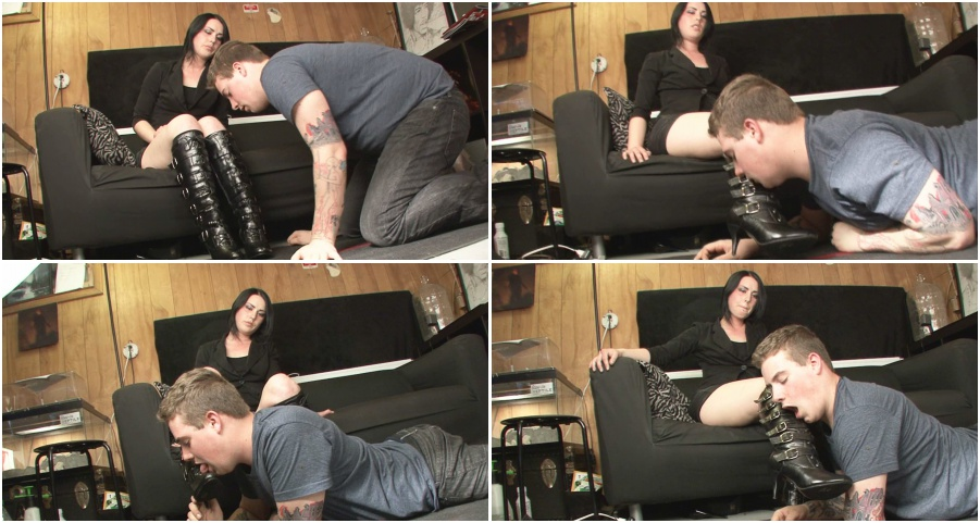 Boots femdom video, boot licking