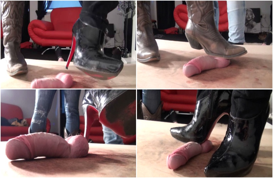 Painful balls and dick trampling, boots femdom