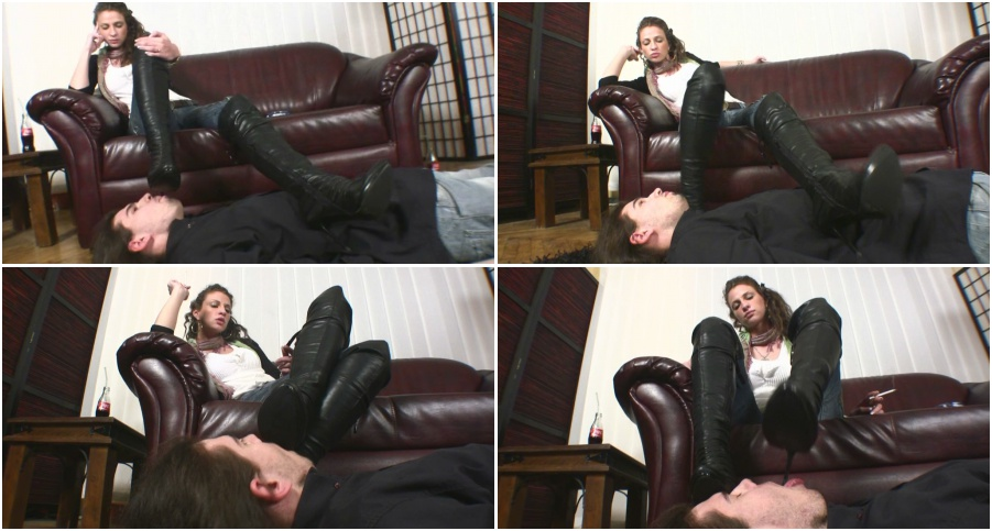 Boots licking femdom, boot fetish