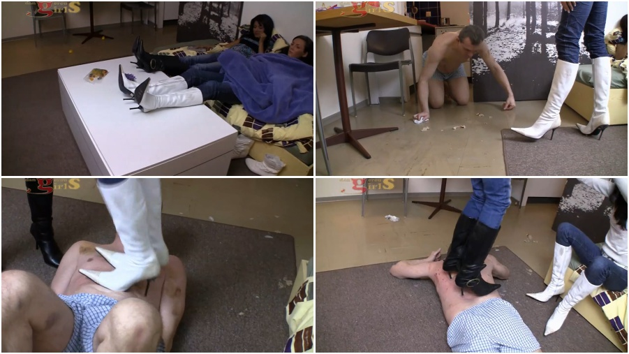 Boots femdom video, body trampling