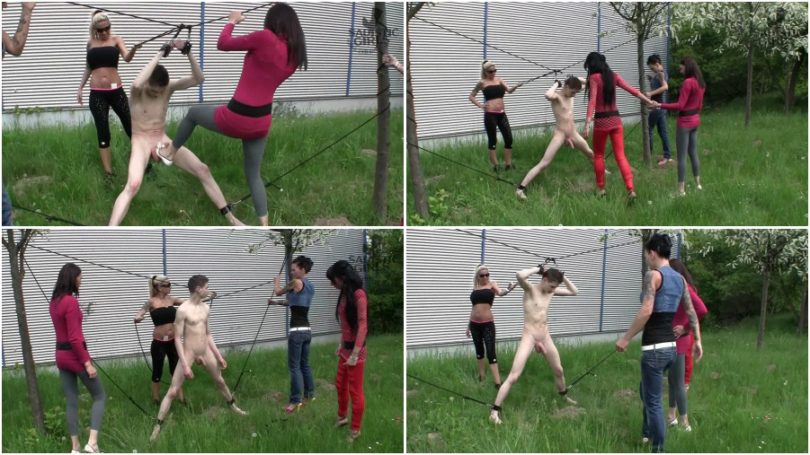 Ballbusting, shoes, outdoor femdom video