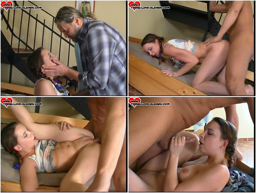Old man  and 19 years old Rebeka pussy porn video