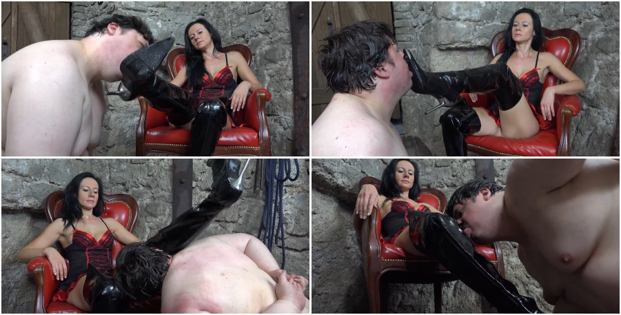 Boots licking femdom video, boot fetish, worship