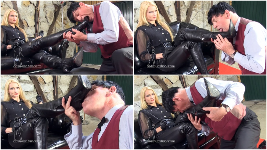 Boot femdom video, boots licking