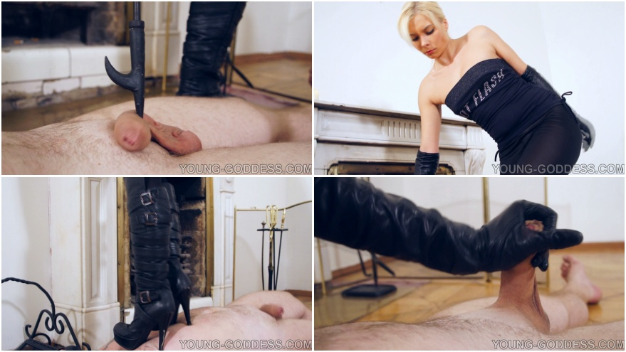 Handjob in gloves and boots fetish
