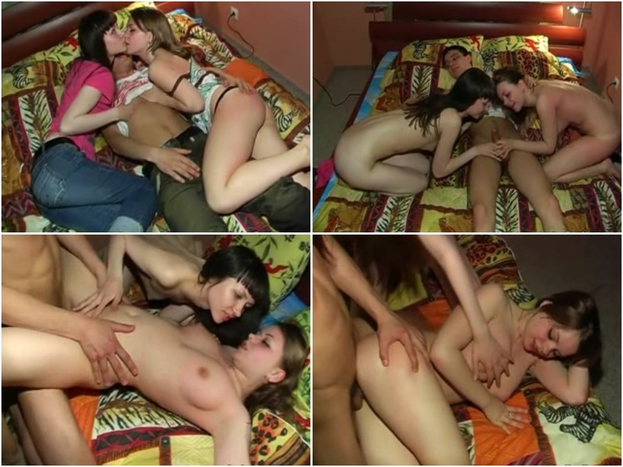 Threesome porn video after college lessons