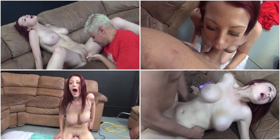 Busty natural redhead young girl tests sex machine