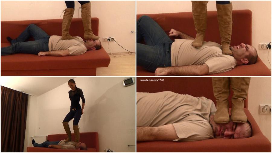Boots femdom video, face trampling