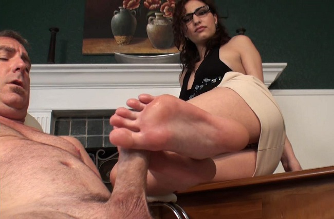 Glasses girl footjob