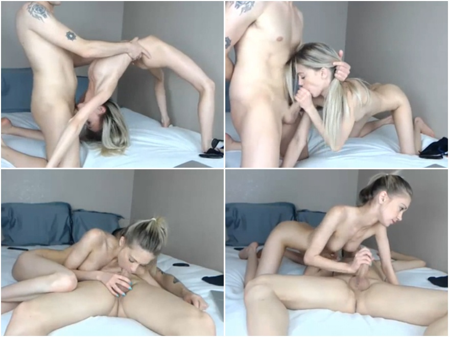 Flexible amateur teen -  webcam oral porn show