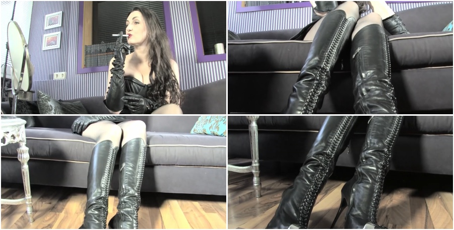 Smoking girl in black boots, dirty talk