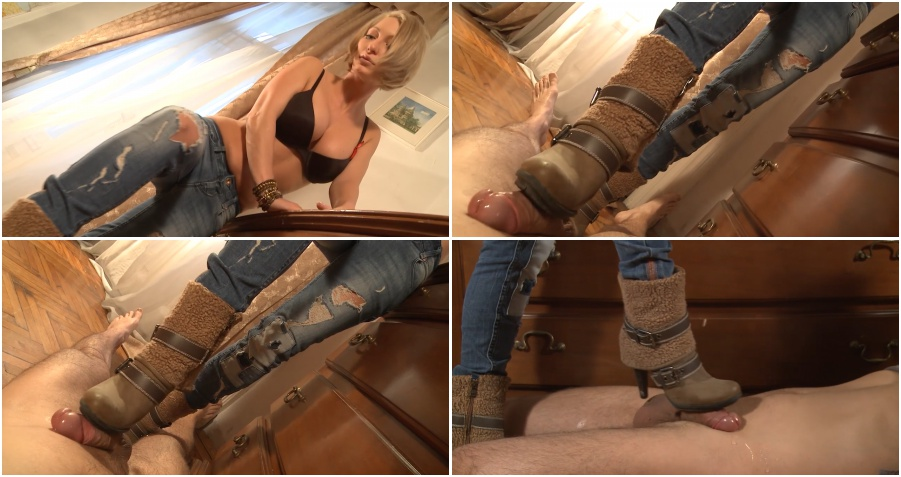 Boots femdom video, bootjob, dick trampling with cumshot