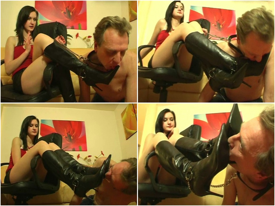 Boots licking femdom video