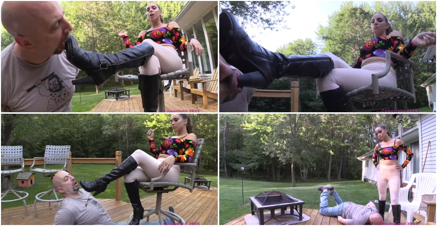 Boots femdom video, boot licking, fetish, outdoor