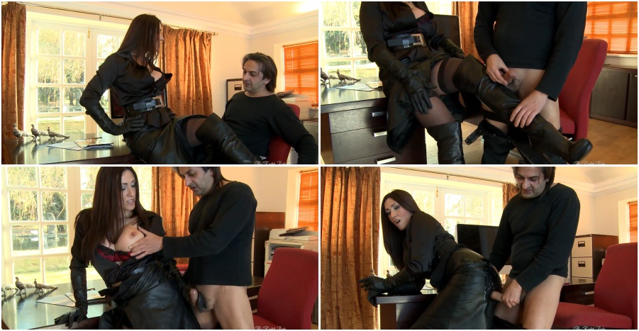Boots femdom video, handjob in gloves, boot fetish
