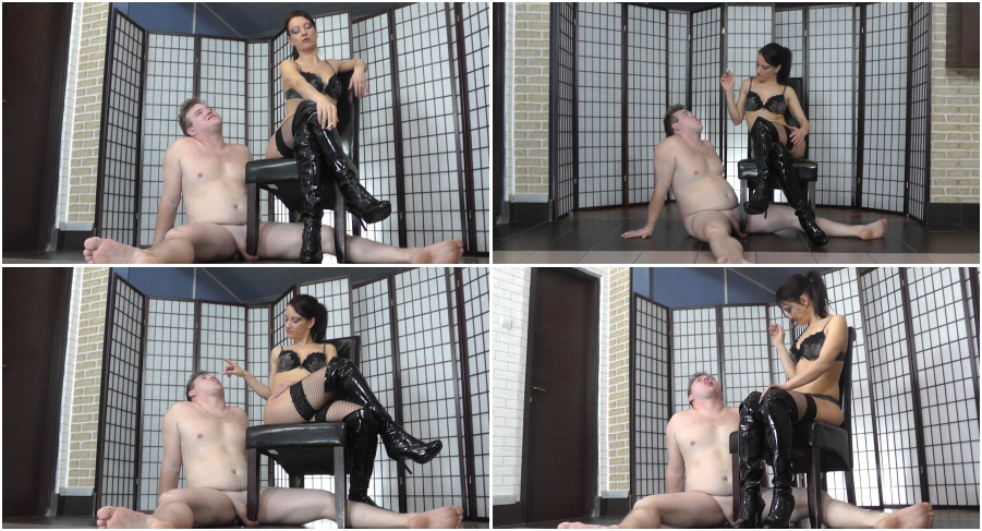 Boot femdom video, smoking girl in boots plays with skave balls