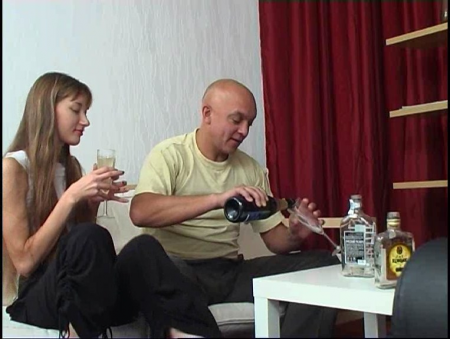 young drunk girl and old man