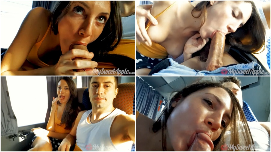Amateur young girl makes blowjob in bus