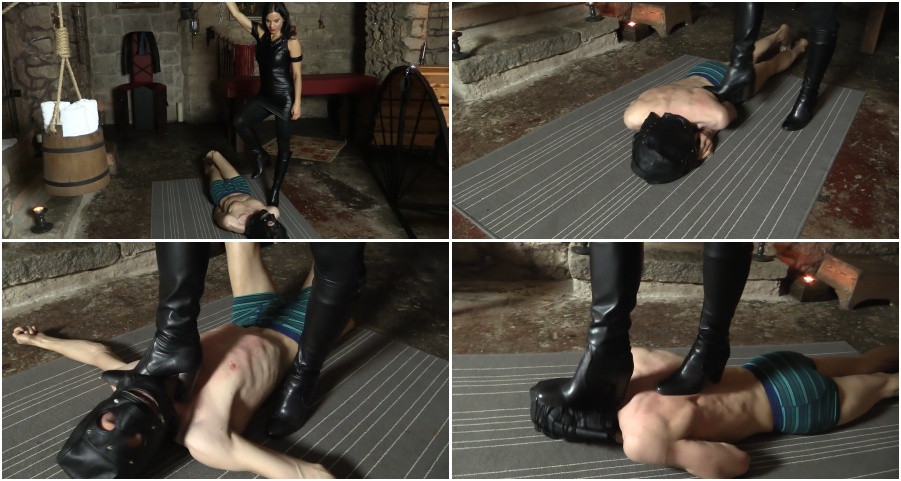 Boots femdom video, painful trampling