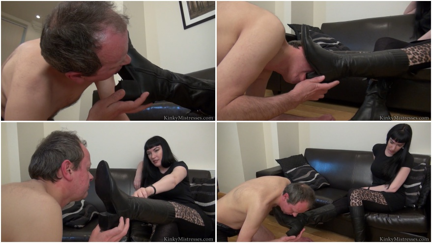 Boots licking female domination with old slave