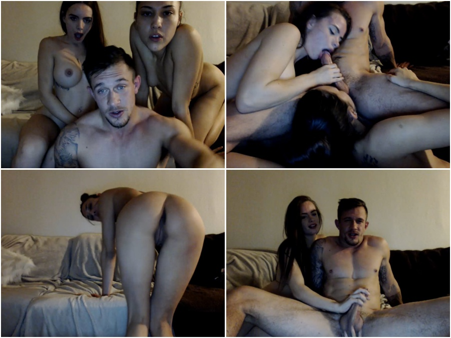 Amateur porn video, two young girls, double blowjob