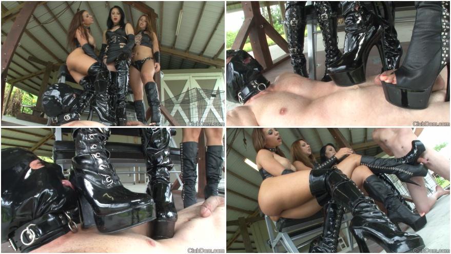 Three girl in boots - bootjob