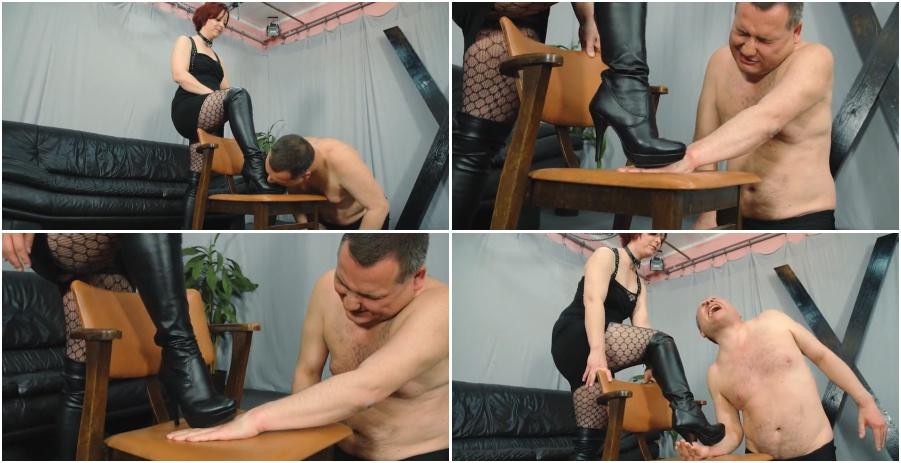 Boots femdom video, painful hands trampling