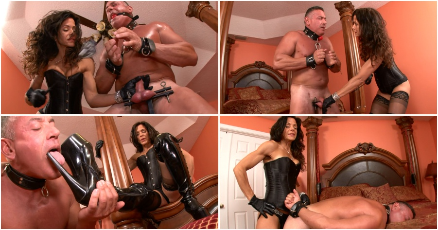 Boots femdom video, balls abuse, strapon