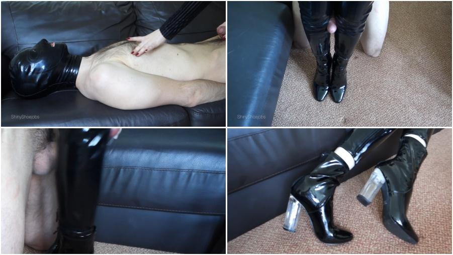 Boots femdom video, amazing bootjob, fetish porn, cumshot on boot